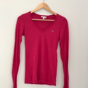 Lacoste Pink Long Sleeve Tee